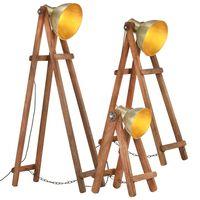 vidaXL grīdas lampas, 3 gab., misiņa krāsā, mango masīvkoks, E27
