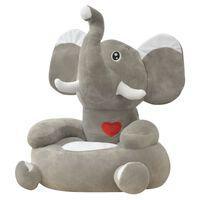 vidaXL bērnu atpūtas krēsls, zilonis, pelēks plīšs