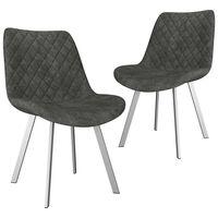 vidaXL virtuves krēsli, 2 gab., pelēka mākslīgā zamšāda