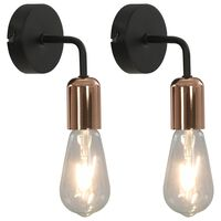 vidaXL sienas lampas ar kvēlspuldzēm, 2 gab., melna un vara krāsa, E27