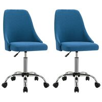vidaXL grozāmi biroja krēsli, 2 gab., zils audums