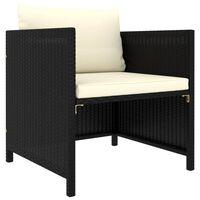 vidaXL dārza dīvāns ar spilveniem, melna PE rotangpalma