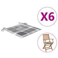 vidaXL dārza krēslu matrači, 6 gab., četrstūru raksts, 40x40x4 cm