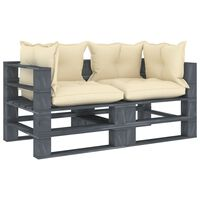 vidaXL divvietīgs dārza palešu dīvāns ar krēmkrāsas matračiem, koks