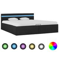vidaXL gultas rāmis ar LED, hidraulikas mehānisms, audums, 160x200 cm