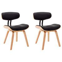 vidaXL virtuves krēsli, 2 gab., melni, izliekts koks un mākslīgā āda