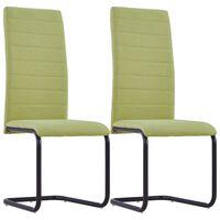 vidaXL konsoles virtuves krēsli, 2 gab., zaļš audums