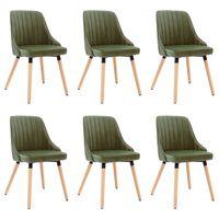 vidaXL virtuves krēsli, 6 gab., gaiši zaļš samts