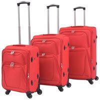 vidaXL mīkstie koferi ar riteņiem, 3 gab., sarkani