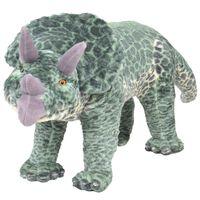 vidaXL rotaļu dinozaurs, trīsradzis, XXL, zaļš plīšs