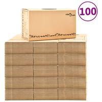 vidaXL pārvākšanās kastes, 100 gab., kartons, XXL, 60x33x34 cm