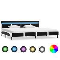 vidaXL gultas rāmis ar LED, melna mākslīgā āda, 180x200 cm