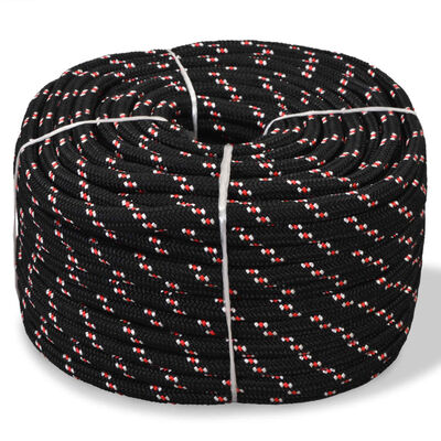 vidaXL pietauvošanās virve, 6 mm, 100 m, polipropilēns, melna