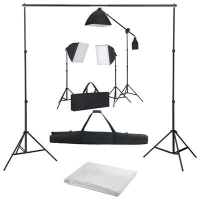 vidaXL fotostudijas komplekts – gaismas izkliedētāji un fons