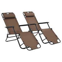 vidaXL sauļošanās krēsli, 2 gab., ar kāju balstu, tērauds, brūni