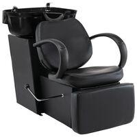 vidaXL frizieru krēsls ar izlietni, melna mākslīgā āda