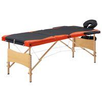vidaXL saliekams masāžas galds, 3 daļas, koks, melns ar oranžu