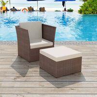 vidaXL dārza krēsls ar kājsoliņu, brūns PE rotangpalmas pinums