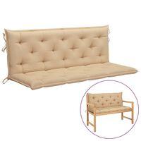 vidaXL šūpuļkrēsla matracis, bēšs audums, 150 cm
