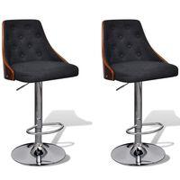 vidaXL bāra krēsli, 2 gab., izliekts koks un audums