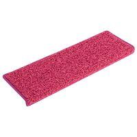 vidaXL kāpņu paklāji, 15 gab., 65x25 cm, rozā