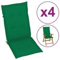 vidaXL dārza krēslu spilveni, 4 gab., zaļi, 120x50x4 cm