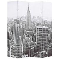 vidaXL istabas aizslietnis, 160x170 cm, saliekams, Ņujorka, melnbalts