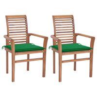 vidaXL virtuves krēsli, 2 gab., zaļi matrači, masīvs tīkkoks