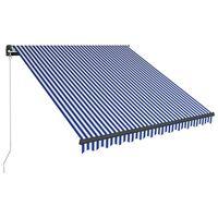 vidaXL izvelkama markīze ar LED, zila ar baltu, 350x250 cm, manuāla