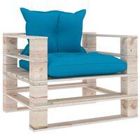 vidaXL dārza palešu dīvāns ar ziliem matračiem, priedes koks