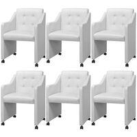 vidaXL virtuves krēsli, 6 gab., balta mākslīgā āda