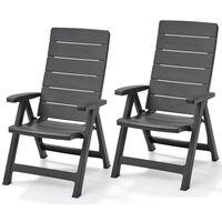 Allibert atgāžams krēsls 'Brasilia', 2 gab., grafīta krāsā, 222970