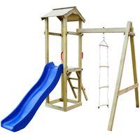 vidaXL rotaļu laukums ar slidkalniņu, kāpnēm, koks, 237x168x218 cm