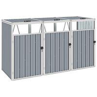 vidaXL trīsdaļīga nojume atkritumu konteineriem, pelēka, 213x81x121 cm