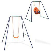 vidaXL vienvietīgās šūpoles un mazuļu šūpoles, 2- vienā, oranžas