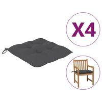 vidaXL dārza krēslu spilveni, 4 gab., pelēki, 50x50x7 cm, audums
