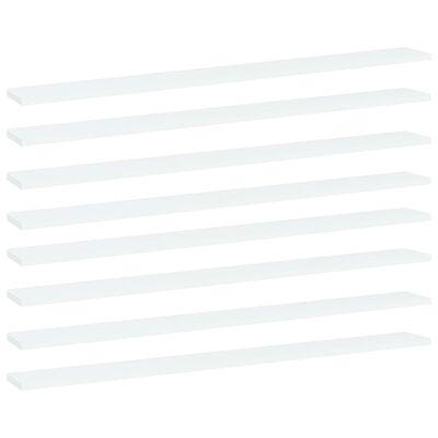 vidaXL plauktu dēļi, 8 gab., balti, 100x10x1,5 cm, skaidu plāksne