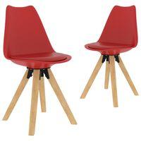 vidaXL virtuves krēsli, 2 gab., sarkani
