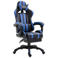 vidaXL datorspēļu krēsls ar kāju balstu, zila mākslīgā āda
