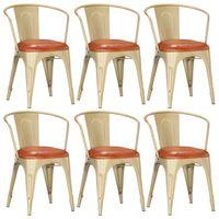 vidaXL virtuves krēsli, 6 gab., brūna dabīgā āda