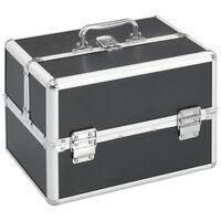 vidaXL kosmētikas koferis, 22x30x21 cm, alumīnijs, melns