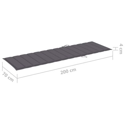 vidaXL sauļošanās zvilnis, antracītpelēks matracis, impregnēta priede