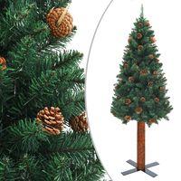 vidaXL Ziemassvētku egle ar dabīgu koku un čiekuriem, zaļa, 210cm, PVC