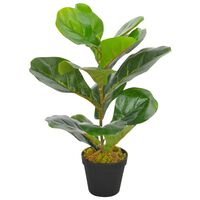 vidaXL mākslīgais augs, lirveida fikuss ar podiņu, zaļš, 45 cm