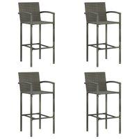 vidaXL bāra krēsli, 4 gab., pelēka PE rotangpalma