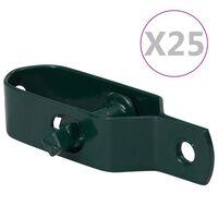 vidaXL stiepļu žoga spriegotāji, 25 gab., 90 mm, zaļš tērauds