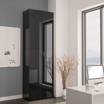 vidaXL biroja skapis, spīdīgi melns, 60x32x190 cm, skaidu plāksne