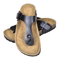vidaXL sieviešu sandales ar korķa zoli, melnas, 36. izmērs