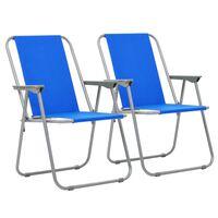 vidaXL saliekami kempinga krēsli, 2 gab., 52x59x80 cm, zili
