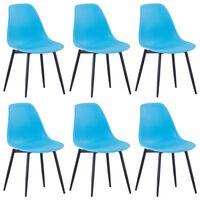 vidaXL virtuves krēsli, 6 gab., zils PP